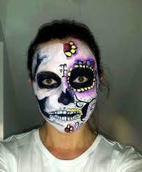 halloween skeleton face painting sugar skull skeleton face paint tutorial youtube