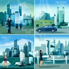 daylight modern city business center street view 4 flat icons
