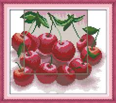 new cherry fruits cotton dmc cross stitch kits white 11ct