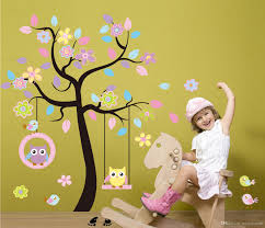 chic black family tree colorful flowers wall art mural sticker