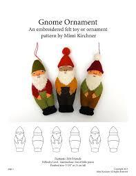 gnome ornament pdf pattern tutorial felt embroidery