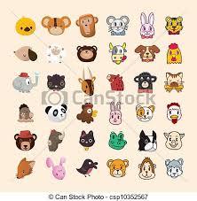 clip art vector of set of cute animal face icon csp10352567