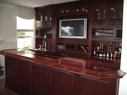 Portable Bar Cabinet Furniture Brown Wooden Built In Bar Cabinet With Glass Storage
