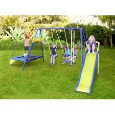 Backyard Swing Sets For Kids by Sportspower Almansor Metal Swing Slide And Trampoline Set Ebay