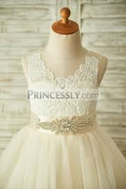 champagne lace tulle sheer back wedding flower dress with