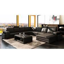 canape d angle en u pas cher canap dangle panoramique cuir noir 10 places hav achat vente pour