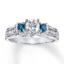 blue and white engagement rings jared blue white ring 7 8 ct tw cut 14k white gold