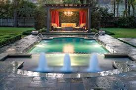 creative pool designs with modern gazebo ideas and fountain for