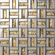 stainless steel mosaic tile backsplash wholesale strip glass mosaic wall tile gold silver mixed crystal