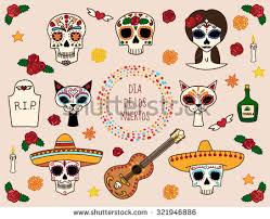 Dia De Los Muertos Pictures Colorful Set Characters Dia De Los Stock Vector 321946886