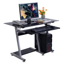 modern computer desk goplus glass top modern modern computer desk