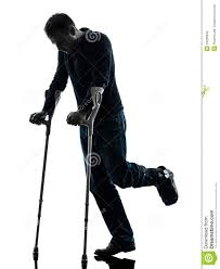 Free Silhouette Images Injured Man Walking With Crutches Silhouette Royalty Free Stock