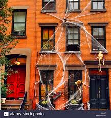 free halloween decorations halloween decorations in chelsea new york city stock photo