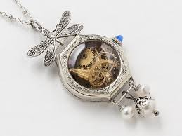 quartz necklace watch images Steampunk necklace 14k gold filled watch case gears butterfly jpg