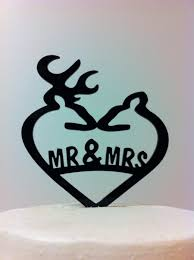 buck and doe wedding cake topper silhouette mr and mrs deer wedding topper country heart mr mrs
