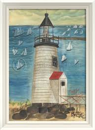 lighthouse home decor brant point lighthouse white frame lighthouses art painting