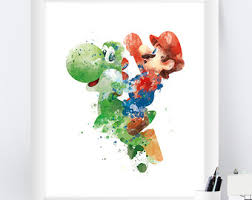 Super Mario Home Decor Super Mario Art Etsy