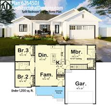 home design plan 62645dj split bedroom starter square feet house