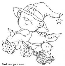 free print halloween teddy bear dressed witch coloring