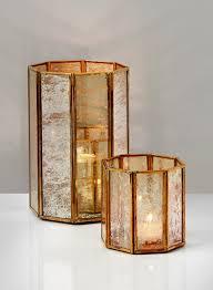 mercury tea light holders 8in gold octagon mercury glass pillar light holder