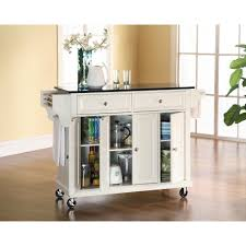 Kitchen Island Black Granite Top Crosley White Kitchen Cart With Black Granite Top Kf30004ewh The