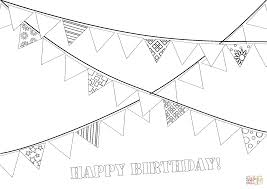 happy birthday party garland coloring page free printable