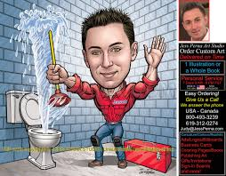 order plumber caricature and comic ad illustrations