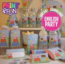 peppa pig party printables english descarga inmediata