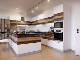 charming two tone modern kitchen cabinets with wood and white tone