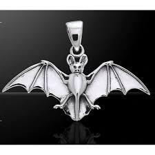 bat sterling silver pendant pagan gothic jewelry vampire bats