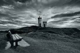 Lighthouse Home Decor Lighthouse Sea Bench Landscape Sky Clouds Black White Wallpaper