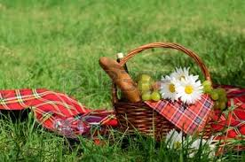 Wine Picnic Basket Picnic Basket With Food On Green Sunny Lawn Stock Photo Picture