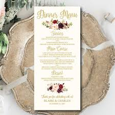 wedding menu template printable editable 4
