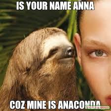 Anna Meme - is your name anna coz mine is anaconda meme whisper sloth 15157