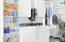 Laundry Room Wall Storage Serene White Laundry Room Design With Cleaning Kit Racks And Wall