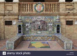 ceramic azulejos tiled provincial bench or alcove of burgos on the