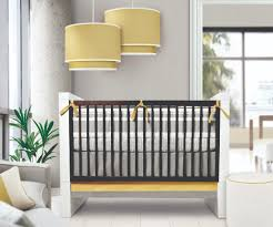 Modern Baby Boy Crib Bedding by White Brown Wooden Baby Crib On Ceramics Flooring Combined By