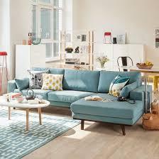 canape angle bleu salle à manger canapé d angle newton tissu bleu azur home24