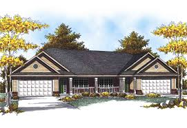traditional ranch duplex home plan 89293ah architectural