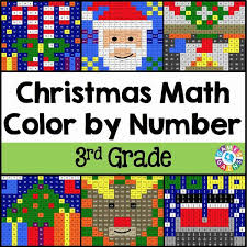 christmas math color by number 3rd grade u2013 games 4 gains