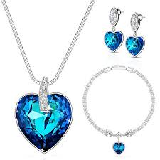sapphire necklace earrings images Lydia queen jewelry set sapphire heart pendant necklace earrings jpg