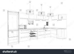 3d linear kitchen interior stock illustration 288459026 shutterstock