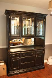 diy painted china cabinet with distressed look mirrored backing