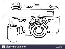 retro slr camera sketch with 35mm film reel and negative on white