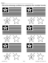 free flag themed number bonds worksheet