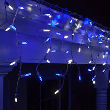 led icicle lights cool white clp5871 led blue cool white icicle lights on 7 5 ft white wire