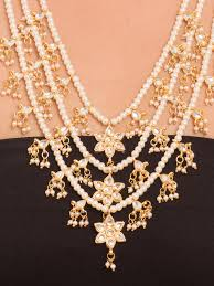 necklace gold pearl images Buy 3 line gold and white pearl kundan necklace by label amara at jpg