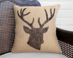 woodland deer burlap pillow stag head pillow deer