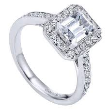 emerald cut solitaire engagement rings 1 50cttw emerald cut halo engagement ring mullen jewelers