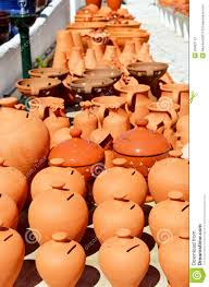 algarve terracotta pots and vases for sale stock photo image